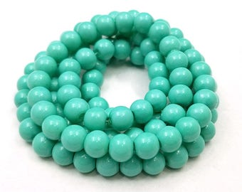 50 pcs 8MM Turquoise Glass Beads (H2541)