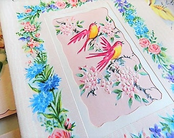 Vintage Box Unused Assorted Cards Pink and Pretty Birds Flowers