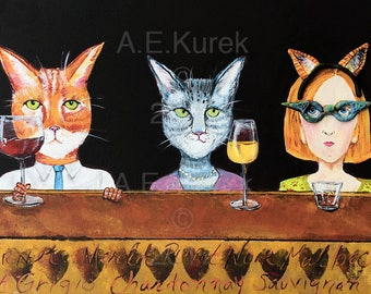 Crazy Cat Lady - Cat Art - 5 x 7  Art Print - Cats with Wine Print - Cat Lover Gift
