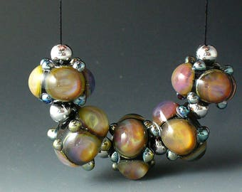 Lampwork beads/SRA lampwork/beads/double helix/pech/pink/crown jewels/