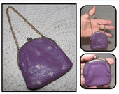 Vintage Small Purple Coin Purse w/ Chain, Wrist Pouch, with Gold Stamped Flor de Lis pattern