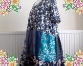3X 4X  Patchwork dress in shades of blue . plus size upcycled preloved eco fashion refashioned altered clothing recycled refashion
