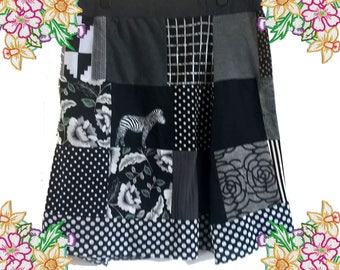 Plus Size Patchwork Skirt. Black and Greys with Zebra Detail. Upcycled Refashioned Textiles. Unique one of a kind by DearLisa Uk 1xl 2 xl