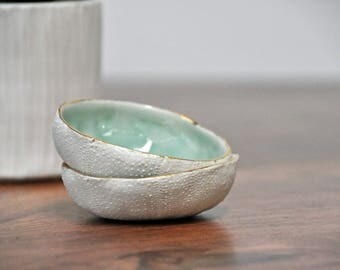 Sea Urchin Ceramic Bowl - Blue Gold Ring Dish Salt Dish Small Ceramic Bowl Foodie Gift Mom Gift