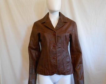 90s Women's Leather Brown Jacket