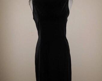 Vintage 90's black velvet dress, short dress 90s