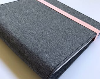 """Baby Book, Spiral Bound.  A Unique Simple & Modern Baby Book (Gray Cover, Coral Elastic, Girl Pages 8.5"""" x 9.5"""")"""