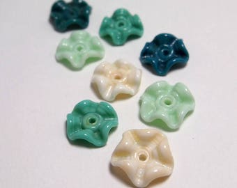 Handmade Lampwork Glass Beads - ruffled discs - Mermaid
