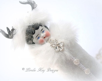 Winter Deer Art Doll Candy Container Antique Inspired Assemblage Art Doll White Reindeer Can Doll Lorelie Kay Original
