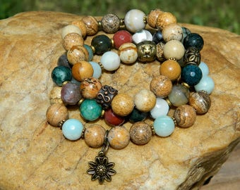Gemstone Bead Boho Stretch Bracelets
