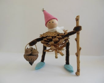 Pinecone Elf Ornament - Pink, White and Aqua - Christmas Decoration - Winter Decoration - Holiday Decoration