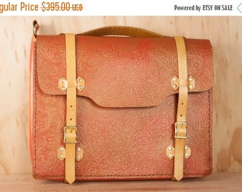 CLEARANCE SALE Handmade Leather Briefcase - For Men or Women - Tooled Western style floral leather in red and gold