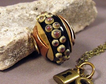 Handmade Lampwork Bead Necklace Size Large Hole Brass Lined and Double Capped Bead  by Monaslampwork - Tiny Dots - Handmade by Mona Sullivan