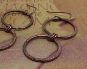 Hammered Copper Double Hoop Earrings, Rustic Textured Women's Jewelry, Oxidized Copper Earrings