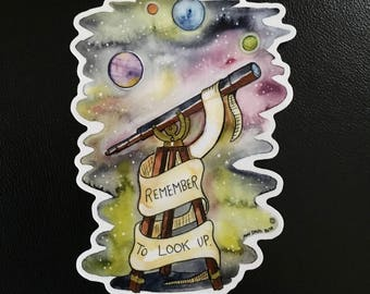 Astronomy Telescope Remember to Look Up Sticker by Surly Amy Davis Roth