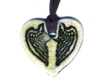 Tiny Cloaked Wing Heart Ceramic Necklace in Light Green Crackle