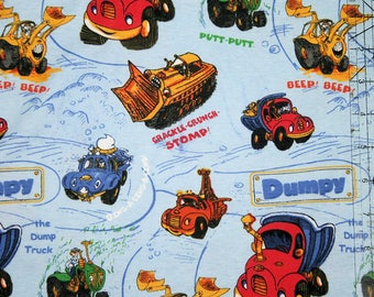 Sale CARS Dumpy on blue Boys Cotton Knit Fabric 1 yard