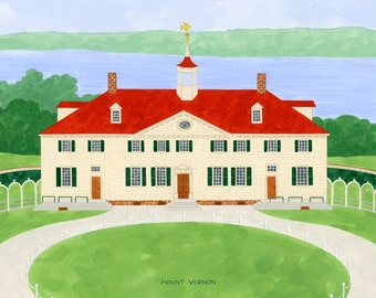 "Mount Vernon, Virginia, George Washington, northern virginia print, colonial architecture, 8.5""x11"" and 11""x14"", art print, americana,"