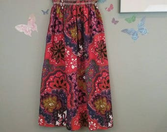 Vintage 60s psychedelic flower print maxi skirt - strapless dress - hippie