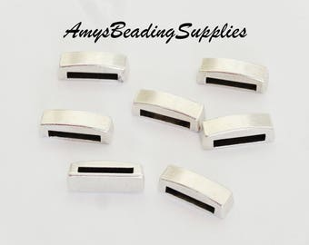 7 Thin Bar 13mm Sliders Antique Silver (7 pieces)