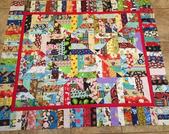"Children's ""I Spy"" Strippy Quilt TOP unfinished"
