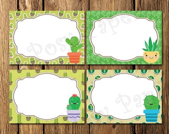 Printable Cactus Birthday Party Food Labels - Instant Download