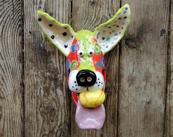 Small Dog Mask, tennis ball, ball, Dogs, Dog Sculpture, Ceramic Wall Hanging, Handmade by Dottie Dracos, ceramic dog mask, ID  611171