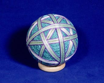 Rattling Temari Ball Ornament Green and Purple on Blue Teal Home Decor Wedding Gift
