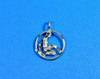 Sterling Silver Aquarius Water Bearer Round Pendant