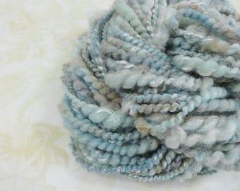Handspun Art Yarn Bulky Coil Spun Art Yarn 40 yards light blue tan cream