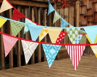 "CUSTOM 6 at 80"" each Solid Colors Bunting, Wedding Party Flags, Birthday Decoration, Photo Prop.  LARGE Sized Flags in Cotton Fabrics"