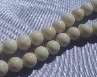 natural gemstone almond color river stone smooth round bead 6 mm / 15 inch