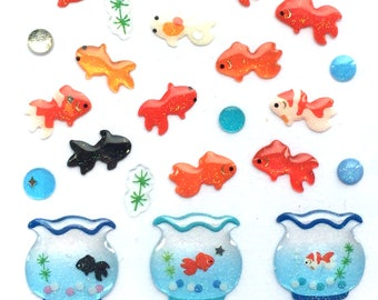 Goldfish Stickers - Fish Stickers - Japanese Stickers - Traditional Japanese Fish  (S170)