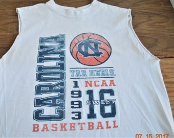 Trashed tee,North Carolina Tar Heels College Basketball ,Sweet 16 ,size Med, 1993 NCAA ,sports t  shirt,  Jansport Made in USA,100% Cotton