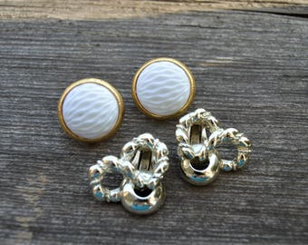 Trifari ,Bogoff,2 pair VTG Earrings  Clip Designer Signed ,Great Condition,Gold tone,Round White ,textured,Bow Knots