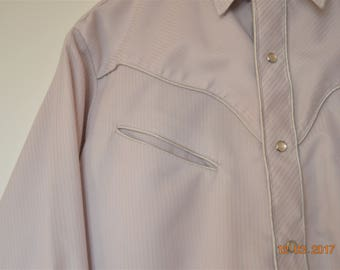 "Western Dress Shirt,40"" 42"" Chest,Fancy Detail,Soft Purple Gray Strip,by Karman 70's 80's ,USA ,Men's ,Unisex,Woman's,OS,Pearl snaps"