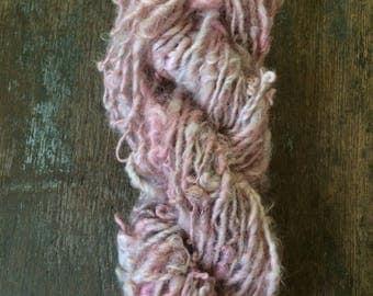 She Sells Sea Shells By The Sea Shore, 44 yards handspun yarn, pink art yarn, lockspun yarn, curly handspun yarn, bulky art yarn,