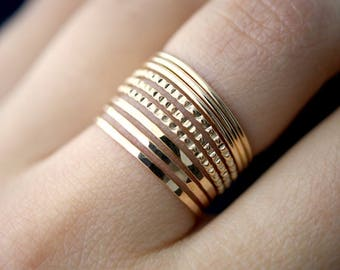 NEW Medium Thickness Lined Set of 9 in 14K Gold-Fill, gold stack ring, gold ring set, gold fill set, delicate gold ring, bark ring, set of 9