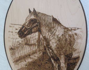 Horse Portrait Solid Maple Wood Burned Plaque Made to Order 8 x 12 inch by Shannon Ivins Pigatopia