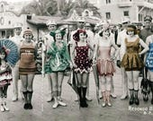 vintage photo Bathing Beauty Flapper Girls 1921 Redondo Beach CA photo poster panorama