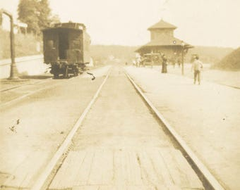 vintage photo 1906 Fallsburg New York Railroad Station Caboose Rails