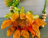 Bowing Sunflower Lampwork Sculpted Bead by Helen's Harvest Art to Wear