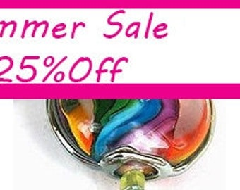 Rainbow Lampwork beads, lampwork glass beads , lampwork beads SRA, unique glass beads, Jewelry Supply, Unique Beads for Crafts, beads, glass