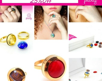 UNIQUE Ring - Circle Ring - Lampwork Jewelry - Glass Bead Jewelry - Interchangeable - Modern Jewelry - everyday jewelry - 18k plated gold