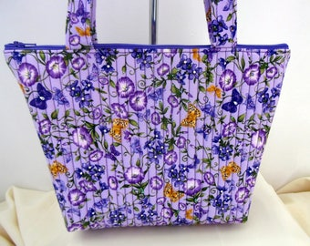 Purple Buttlerfly Embellished Handbag, Lavender Embellished Floral Bag, Quilted Red Floral Bag, Quilted Purse with Crystals and Zipper