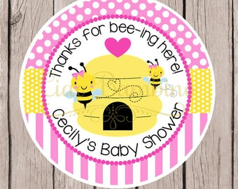 Pink Bumble Bee Baby Shower Favor Tags or Stickers / Personalized Pink and Yellow Bee Tags / Little Honey Shower / Set of 12 - 0032