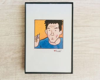Zoolander, 4 x 6 inch Print, Derek Zoolander, Art, Crayon Drawing, Movies, Pop Culture, Wall Decor, Ben Stiller