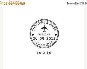Super Summer Sale Custom Airplane Wedding Passport Save the Date Rubber Stamp AD173