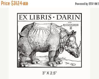 Xmas in July Personalized Rhinoceros Bookplate Ex Libris Rubber Stamp F15