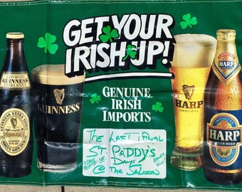 GUINNESS VINTAGE Banner BAR Sign Harp Beer Ale - Saint Patrick's Day Paddy Irish Old Advertising Signage Pub - Great for Man Cave or Bar